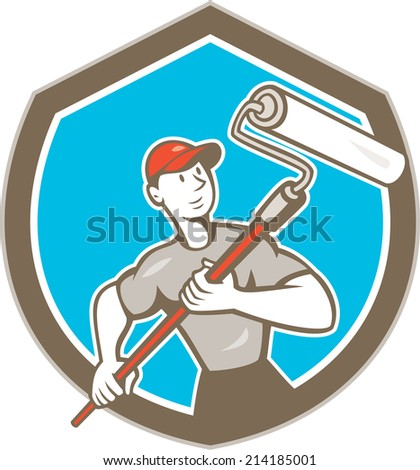 Illustration of a house painter handyman holding paint roller set inside shield crest on isolated background done in cartoon style. - stock photo
