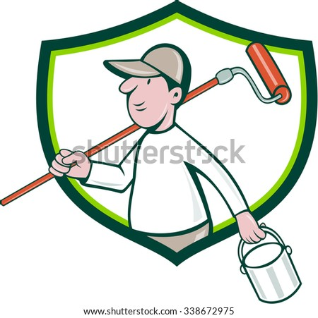 Illustration of a house painter handyman holding paintroller on shoulder and paint can on the other hand viewed from the side set inside shield crest on isolated background done in cartoon style. - stock photo