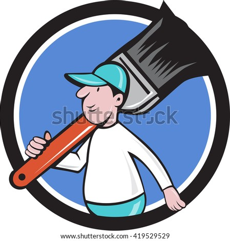 Illustration of a house painter walking carrying giant paintbrush on shoulder viewed from the side set inside circle on isolated background done in cartoon style.  - stock photo