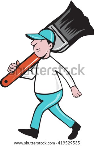 Illustration of a house painter walking carrying giant paintbrush on shoulder viewed from the side set on isolated white background done in cartoon style.  - stock photo