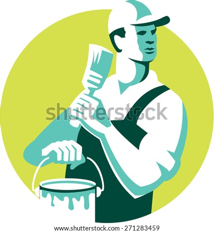 Illustration of a house painter with hat holding paintbrush and can of paint looking to the side set inside circle on isolated background done in retro style.  - stock photo