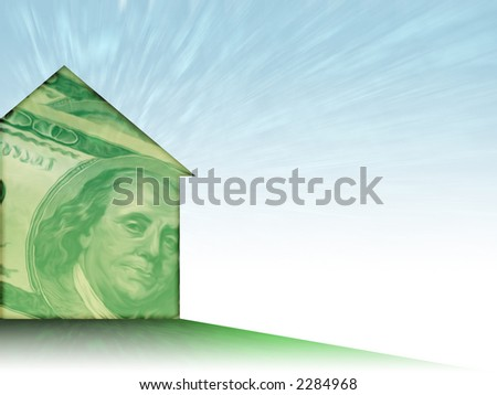 Illustration of a house shape painted with a whispy 100 dollar bill - nice background theme for mortgage/realty/finance... - stock photo