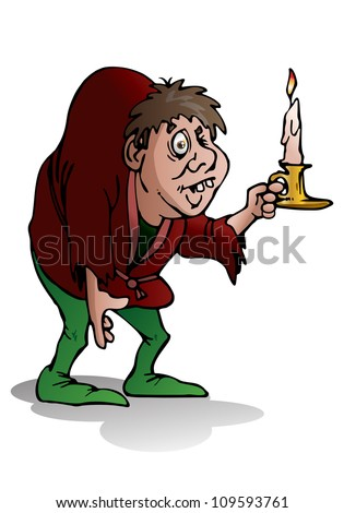 illustration of a hunchback man hold candle on isolated white background - stock photo