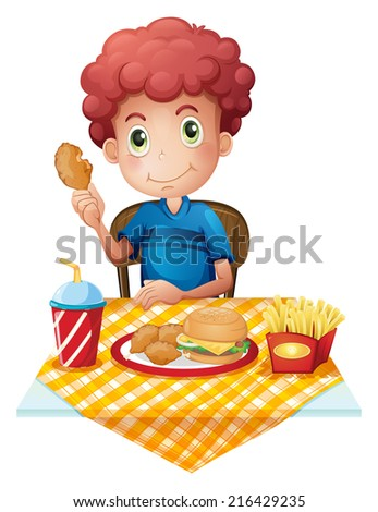 Illustration of a hungry boy eating on a white background - stock photo