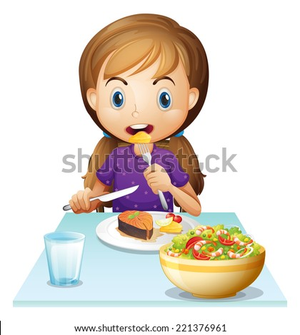 Illustration of a hungry girl eating lunch on a white background - stock photo