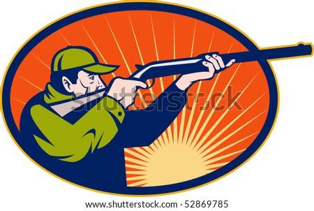 illustration of a Hunter aiming rifle shotgun side view set inside an ellipse - stock photo