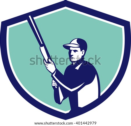 Illustration of a hunter wearing hat holding shotgun rifle looking to the side set inside shield crest on isolated background done in retro style.