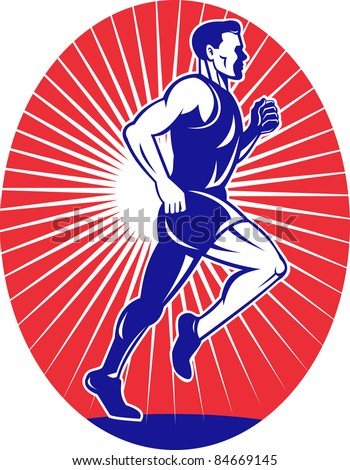 illustration of a illustration of a Marathon road runner jogger fitness training viewed from side set inside oval with sunburst in background