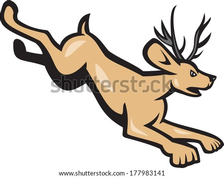 Illustration of a jackalope, a mythical animal of North American folklore described as a jackrabbit with antelope horns or deer antlers, jumping viewed from side cartoon style on isolated background. - stock photo