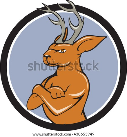 Illustration of a jackalope, a mythical animal of North American folklore described as a jackrabbit with antelope horns or deer antlers with arms crossed  set inside circle done in cartoon style.  - stock photo