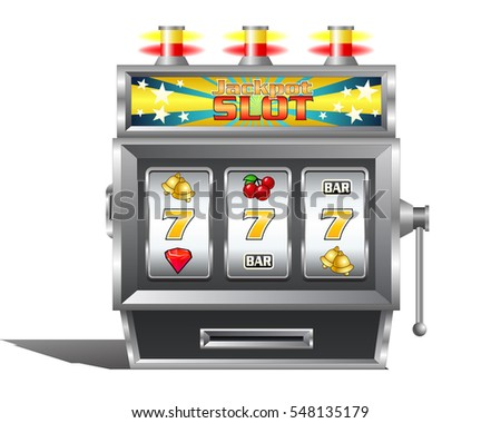 illustration of a jackpot slot  machine for gambling game concept on isolated white background