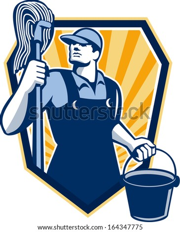 Illustration of a janitor cleaner worker holding mop and water bucket pail viewed from low angle done in retro style set inside shield crest.