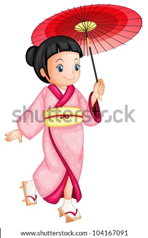 illustration of a japanese geisha - EPS VECTOR format also available in my portfolio. - stock photo