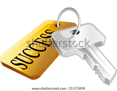Illustration of a key with a success label attached, white background.  This is part of the tekno icon set. - stock photo