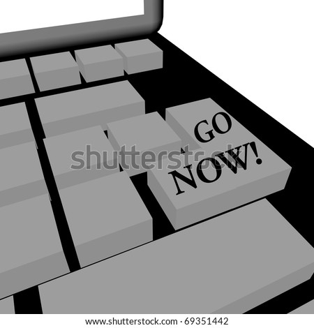 "Illustration of a keyboard with ""go now"" written on a key"