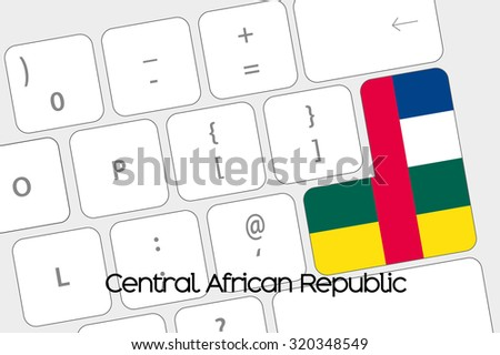 Illustration of a Keyboard with the Enter button being the Flag of Central African Republic