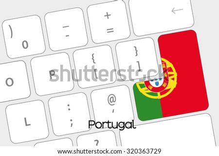 Illustration of a Keyboard with the Enter button being the Flag of Portugal