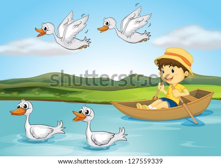 Illustration of a kid on a boat and flying and swimming ducks - stock photo
