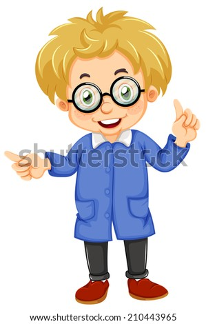Illustration of a kid wearing glasses on a white background - stock photo