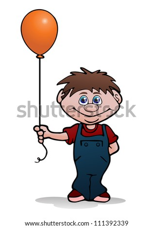 illustration of a kids holding balloon on isolated white background