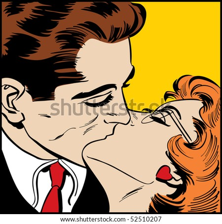 Illustration of a kissing couple in a pop art/comic style - stock photo