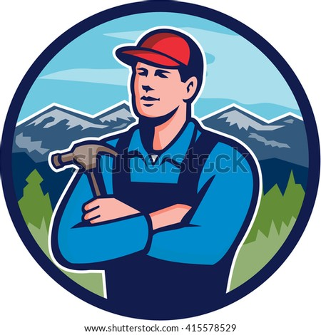 Illustration of a kitchen bathroom remodeler builder carpenter holding hammer with arms crossed viewed from front set inside circle with mountains in the background done in retro style.  - stock photo
