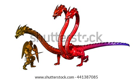 Illustration of a knight fighting with a dragon - stock photo