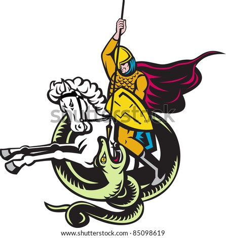 illustration of a knight riding horse with shield and spear fighting snake dragon done in retro style on isolated white background - stock photo