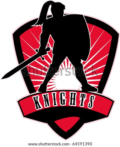 """illustration of a Knight silhouette with sword and shield facing side with sunburst in background set inside shield with words """"Knights"""" suitable  mascot for sports sporting club or organization - stock photo"""