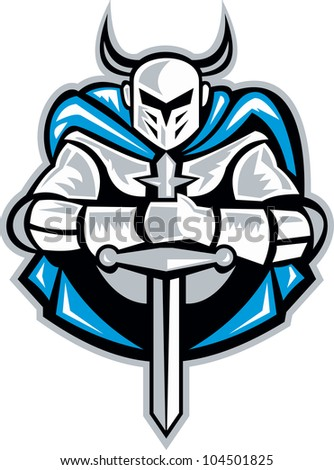 Illustration of a knight with sword facing front done in retro woodcut style. - stock photo