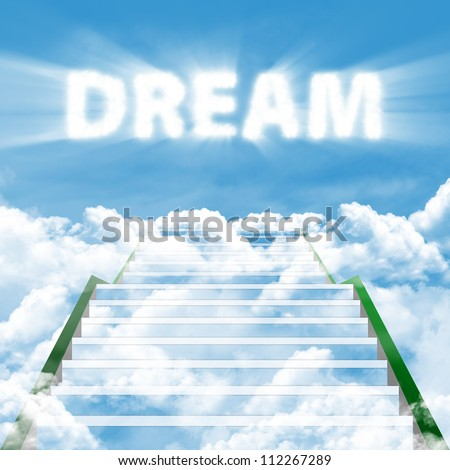 Illustration of a ladder leading upward to realize high dream - stock photo