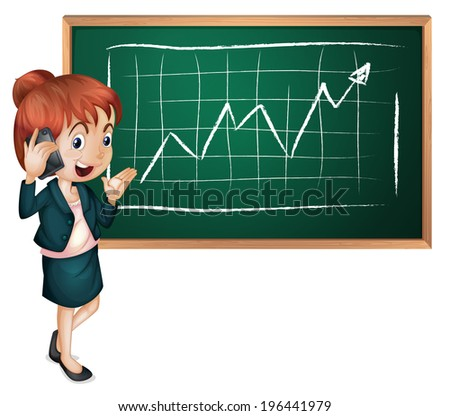Illustration of a lady using her cellular phone in front of the blackboard on a white background - stock photo