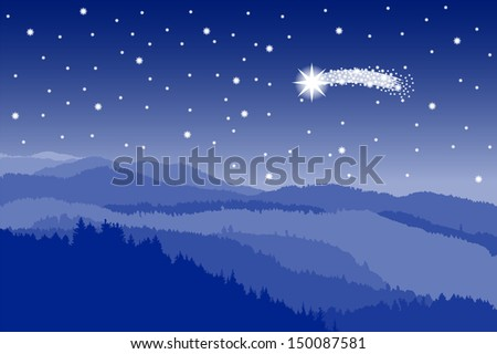 illustration of a landscape with a starlit sky with shooting star - stock photo