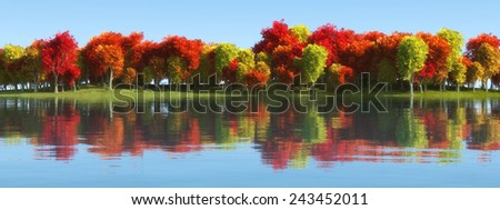 illustration of a landscape with trees reflected in water - stock photo