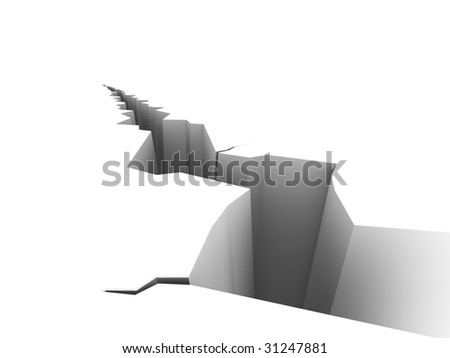 Illustration of a large crack on a white surface. - stock photo