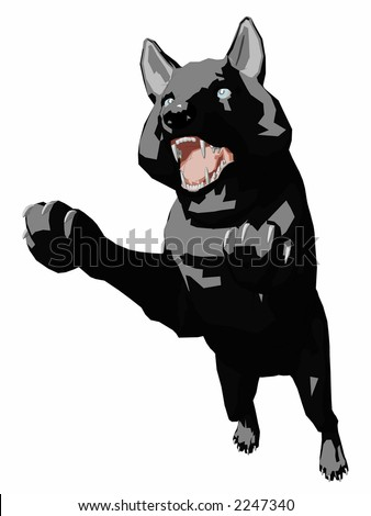 Illustration of a large, vicious, black dog jumping to attack. - stock photo
