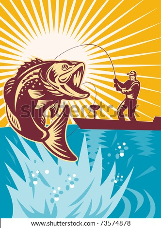 illustration of a Largemouth Bass Fish jumping being reeled by Fly Fisherman on bass boat with Fishing rod  done in retro style