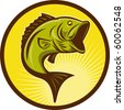 illustration of a Largemouth Bass fish jumping done in retro woodcut style - stock photo