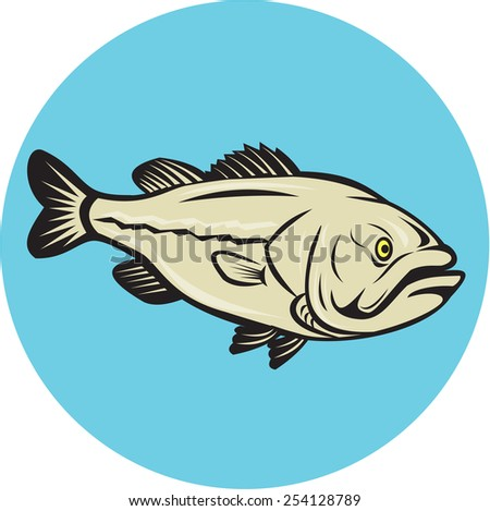 Illustration of a largemouth bass fish viewed from side set inside circle done in cartoon style on isolated background.