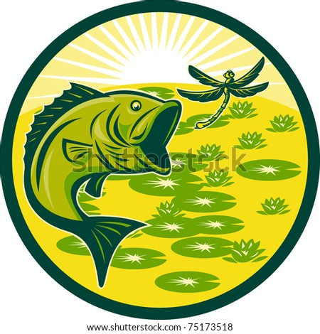 illustration of a largemouth bass jumping with dragonfly flying with lily pads and sunburst in background set inside a circle done in retro woodcut - stock photo