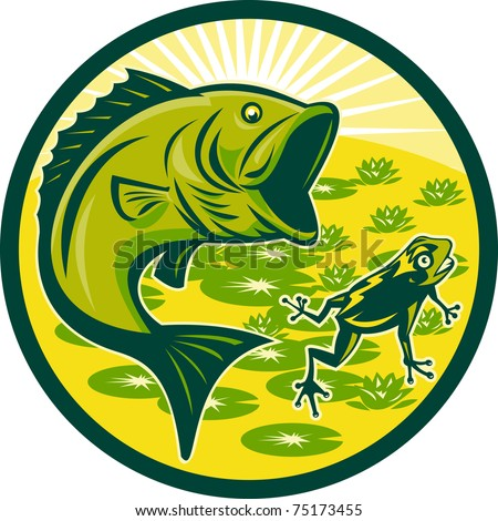illustration of a largemouth bass jumping with frog and lily pads and sunburst in background set inside a circle done in retro woodcut - stock photo