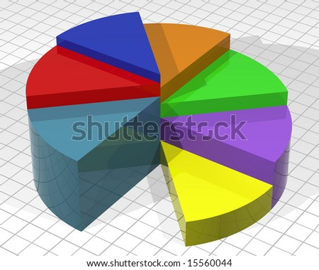 Illustration of a layered pie chart with different colored slices - stock photo
