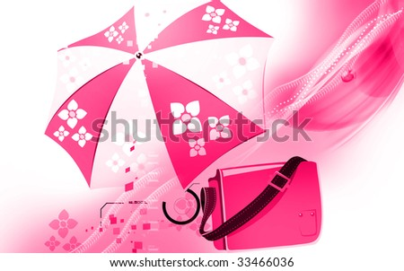 Illustration of a leather bag with umbrella
