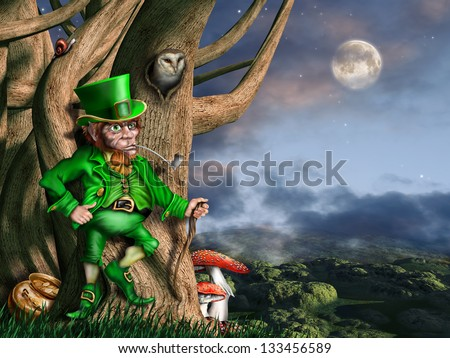 Illustration of a leprechaun with his pot of gold at night - stock photo