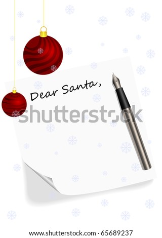 Illustration of a letter to Santa Claus - stock photo