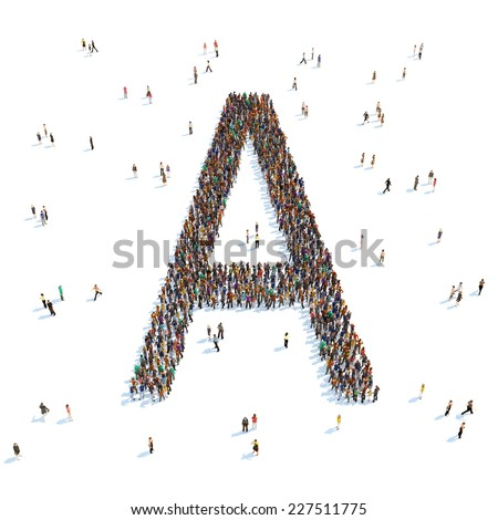 Illustration of a letter with people,isolated - stock photo