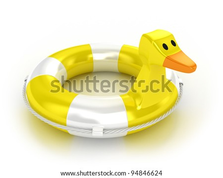 Illustration of a lifebuoy in the form of a duck - stock photo