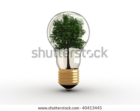 Illustration of a light bulb with a tree inside - 3d render