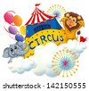 Illustration of a lion and an elephant near the circus signage on a white background - stock photo