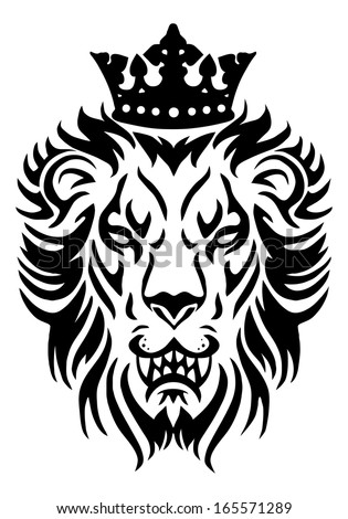 illustration of a  lion king wear crown in isolated white background - stock photo